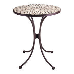 New Rustics - New Rustics Mosaic Southwest Round Table in Wrought Iron - This new collection brings an artsy street-style cafe look to any outdoor living space. Handmade with wrought iron and unusual handcut rustic slate, pebbles, and glazed tile inlay patterns, these pieces also compliment indoor decor with natural colors and streamlined designs.