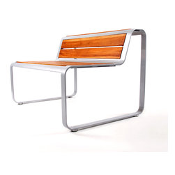 Lebello - Lebello Modern Outdoor Backbench - Skin Bench - Skin Bench by Lebello is a modern backbench seating, designed with 69 tons of force to create a solid aluminum curve. The top inserts are customizable and include FSC certified teak or CL lamination.