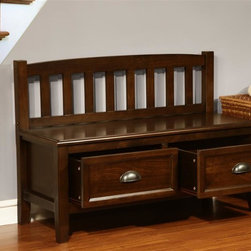 Simpli Home - Burlington Collection Espresso Brown Entryway - Storage cubbies are not included. Includes two storage drawers. Traditional design. Square tapered legs. Functional, attractive and comfortable. Seats two comfortably. Two large frame panel doors and drawers. Traditional bronze pulls. Made from solid wood. Rich espresso stain finish with protective NC lacquer finish. Assembly required. 42 in. L x 17 in. W x 29 in. H (47.3 lbs.)The Burlington Bench is a beautiful addition to any home and fits easily in any design environment.