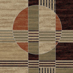 Ottomanson - Green Contemporary Abstract Design Area Rug - Manhattan Collection offers a wide variety of machine made modern design area rugs with high, durable, stain-resistant pile in trendy colors.