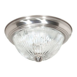 """Nuvo Lighting - Nuvo Lighting 76/611 Three Light 15"""" Flush Mount Ceiling Fixture with Clear Ribb - Nuvo Lighting 76/611 Three Light 15"""" Flush Mount Ceiling Fixture with Clear Ribbed Glass Shade, in Brushed Nickel FinishNuvo Lighting 76/611 Features:"""