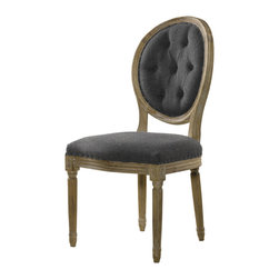 Louis Side Chair- Tufted Wool - Inspired by Vintage French classicism, remarkable comfort and substantial craftsmanship. Classic in every detail, hand-carved weathered oak frame and hand-turned legs. Wool tailored with hand-hammered shoe nails. The oak wood is first sanded and then a wire brush is used to raise the grain. A matte finish is then applied.