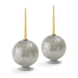 Pair of Autour Candleholders - If you want to prettify your home decor with something unique and elegant, Vintage Industrial Chic Candleholders will be a perfect pick for you. Made from glass, these elegant candleholders are given an antique etched opal finish. These ball-shaped candleholders will lend a striking look to urban decor. Let your home speak of your sophisticated class with these stylish yet affordable candleholders. They are well-formed and eye-catchy decorative items that will surely invite compliments from your guests.