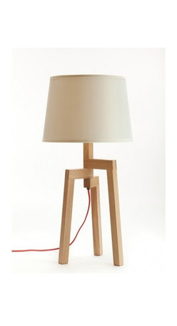 ParrotUncle - Contemporary Wooden Table Lamps Artistic Fabric Shade - Give this three-legged table lamp a standing ovation.Traditional woodworking techniques meet a modern sensibility to shed new light on your favorite setting.