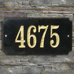 """Grandin Road - Executive Rectangle Plaque - Treat yourself to our fashionable Executive Rectangle Plaque. Made with solid granite for all-weather durability, this outdoor address plaque features deeply engraved 4"""" numbers with 5 styles to choose from. View the Number Colors that coordinate with each plaque."""