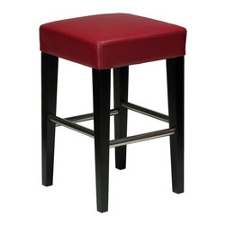 Cortesi Home - Cortesi Home Backless Counter Stool in Genuine Leather, Red - The  counter stool comes in a  genuine leather. This stool features chrome leg support bars for durability and ease of cleaning. The frame is solid wood with a black finish. No assembly required.  Quantity of 1.
