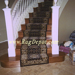 Couristan Forbes - Black - Couristan Forbes Collection -  Black, Stair Runner Install. Installation by RugDepot.com