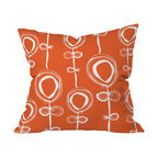 DENY Designs - Rachael Taylor Contemporary Orange Throw Pillow, 20x20x6 - Add some wow to your sofa, bed or bench. Modern white balloon flowers pop against the bright orange background of this woven polyester pillow. It's sure to add life and color to any room.