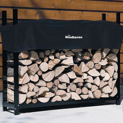 """Woodhaven - 5 Foot Firewood Rack w Standard Cover - 1/4 cord rack. Arc welded end sections. Drill precision holes. Stainless steel nuts and bolts. Cover allows airflow to prevent mold, mildew and promote curing process. Protects top of firewood from weather. Four reinforced pockets. Pockets allows cover to slide down on vertical tubes to level of firewood. Reinforced stitching in all stress points. Velcro panel for quick and easy access to firewood. Accommodates upto 24 in. firewood. Textured powder coated finish. Lifetime structural warranty. Made from mild steel. Made in USA. Assembly required. 60 in. L x 14 in. W x 48 in. H (37 lbs.)For those who desire more wood storage. This size can also add a custom look for spots that this size fits """"just right""""."""
