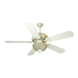 Craftmade - Mia Antique White Distressed Ceiling Fan with 52-Inch Standard Antique White Bla - -Elegant and sophisticated, the Mia fan adds beauty to any home.  -Heavy-Duty, 3 Speed Reversible Motor  -2 and 6 Downrods is included   -TCS Remote Control Sold Separately,  TCS-PLUS Wall Control is Sold Separately   -Five blades included  -Blade pitch:14  -Motor size(MM):188x15  -Amps:0.7  -Watts:72  -RPM(Hi-Med-Lo):210-120-78  - Airflow (Cubic Ft/Min):5656 , Electricity US:72 Watts , Airflow Efficiency(Cubic Ft/Min/Watt):78  -This set contains Fan Model# MI52AWD; Blade Model# B552S-AW Craftmade - K10325