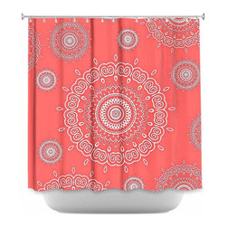 DiaNoche Designs - Shower Curtain Artistic Infinity Coral - Sewn reinforced holes for shower curtain rings. Shower Curtain Rings Not Included. Dye Sublimation printing adheres the ink to the material for long life and durability. Machine Washable. Made in USA.