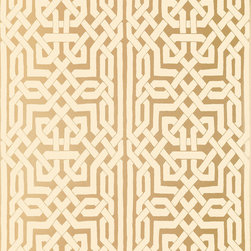 Schumacher - Malaga Wallpaper, Gold - The patterning on this panel stripe wall-covering is derived from complex Moorish fretwork designs of interlocking forms. Its exotic geometry creates a dramatic look for walls in a neutral palette that is accented with metallic gold and silver.