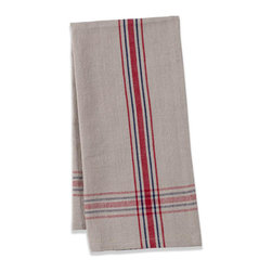 Origin Crafts - Khadhi cotton tea towels (beige/blue/red), set of 2 - Khadhi Cotton Tea Towels (Beige/Blue/Red), Set of 2 The Khadhi collection of refined linens embodies a nostalgic vintage French style. Because Khadi cotton fabric is entirely handmade ? from the spinning to weaving stage, it has a natural, earthy look and feeling. At the same time, it?s understatedly chic and these Khadhi tablecloths, napkins and handkerchiefs are perfect for outdoor dining, complementing a rustic breakfast table or contrasting and softening a modern dining room setting. A Caravan exclusive. Each 100% cotton tea towel is entirely handmade and yarn dyed for a natural texture. Easy care and practical: machine washable, ironing is optional. Dimensions (in):20x30 By Couleur Nature - Couleur Nature is a wholesaler of fine, French-inspired Indian woodblock-printed and vintage linens. Couleur Nature?s linens and home accessories are versatile and can be used for formal or casual table settings year-round, as well as the every day. Their distinct but wide appeal makes them ideal for almost any occasion, decor or personal style. Usually ships in three business days. Our linens are handmade: slight variations are natural and make each piece unique.