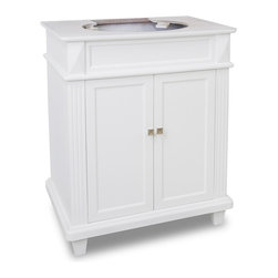 Hardware Resources - 28-7/8 in. Douglas White Vanity - This 28 7/8 inch wide MDF vanity features a sleek white finish  clean lines and tapered feet to give a modern feel.  A perfect alternative to a pedestal sinks.  A large cabinet provides storage.