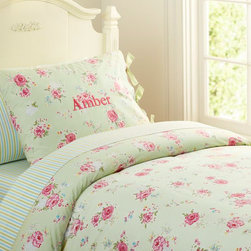 Savannah Floral Duvet Cover - Watercolor-style cabbage roses, polka dots and grosgrain ribbons give this cotton percale duvet cover romantic, designer style.