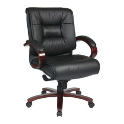 Office Star - Office Star Deluxe Mid Back Black Executive Leather Chair With Mahogany Finish - Mid Back Black Executive Leather Chair with Deluxe Locking Mid Pivot Knee Tilt and Mahogany Finish. Thick Padded Contour Seat and Back with Built-in Lumbar Support. One Touch Pneumatic Seat Height Adjustment. Locking Mid Pivot Knee Tilt Control with Adjustable Tilt Tension. Top Grain Leather. Mahogany Finish Padded Arms. Mahogany Finish Wood Covered Steel Base with Dual Wheel Carpet Casters. What's included: Office Chair (1).