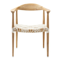 Safafieh Bandelier Reclaimed Teak Armchair, Light Oak Finish - The seat of this chair is so pretty and unique. I love the contrast of the white lace against the sturdy wooden body.