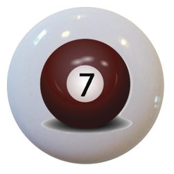 Carolina Hardware and Decor, LLC - Billiards 7 Pool Ball Ceramic Knob - New 1 1/2 inch ceramic cabinet, drawer, or furniture knob.  Mounting hardware included.   Can be wiped clean with a soft damp cloth. Great addition and nice finishing touch to any room!