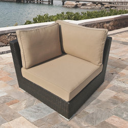 Sirio - Morgan Brown Wicker Outdoor Corner Chair by Sirio - Sink in and enjoy the relaxation and styling of the Morgan corner chair by Sirio. Whether it's the sturdy,heavy-duty aluminum,weather-resistant wicker or dependable,long-lasting sunbrella fabric,you'll be glad you chose this one.