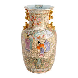 "n/a - 15"" H Chinese Hand Painted Four Dragon Rose Medalion Porcelain Vase - This Oriental Foo Dog Handle Vase features a colorful hand painted Chinese wedding scene surrounded by a medallion border and hand finished in traditional rose family glazes. The outside panels are decorated with vines, scrolls, butterflies, and flowers in a number of colors including rich gold, greens, pinks, and reds. Imported by us from China, this handmade object is finished in a deep traditional Chinese color palette. Pastel blue, green, peach and gold on white background. We recommended for table top use as a flower vase.  Add a 6"" flat rosewood stand to enhance its beauty."