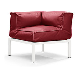 Zuo Modern - Copacabana Corner Red - The Copacabana collection is designed for funky versatility. This set has modular pieces of an armless chair, a corner armchair, an ottoman, and a table. The cover is made from a completely waterproof and UV resistant polyester fiber. The frame is made from an epoxy coated aluminum. The fill is 100% pure polystyrene beads. All the cushions can be attached via durable oversize zipper. Have fun with the cushions and throw them in the pool...they will float!