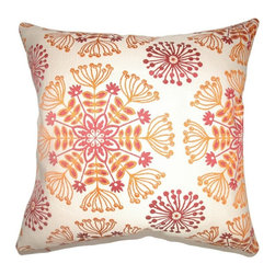 Pillow Collection - The Pillow Collection Jamesie Floral Pillow - P18-D-36142-FLAME-C68R32 - Shop for Pillows from Hayneedle.com! The perfect botanical pattern makes The Pillow Collection Jamesie Floral Pillow a lovely accent in your home. Made of 68% cotton and 32% rayon this modern square pillow features a plush 95/5 feather/down insert for luxurious softness. The stylized floral print and vibrant cheery color palette adds a charming touch that's sure to brighten up any space.About The Pillow CollectionIdentical twin brothers Adam and Kyle started The Pillow Collection with a simple objective. They wanted to create an extensive selection of beautiful and affordable throw pillows. Their father is a renowned interior designer and they developed a deep appreciation of style from him. They hand select all fabrics to find the perfect cottons linens damasks and silks in a variety of colors patterns and designs. Standard features include hidden full-length zippers and luxurious high polyester fiber or down blended inserts. At The Pillow Collection they know that a throw pillow makes a room.