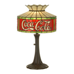 """Meyda - 20""""H Coca-Cola Accent Lamp - One of the most recognizable and iconic symbols ofour time """"coca - cola"""" a true american original hasteamed up with another true american original""""meyda tiffany"""" to offer these beautiful oneof a kind stained glass table lamps. Bulb type: med bulb quantity: 1 bulb wattage: 60"""
