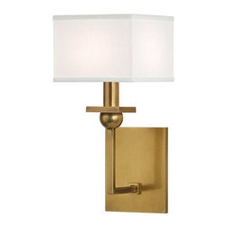Hudson Valley Lighting - Hudson Valley Morris D-1 Light Wall Sconce in Aged Brass - Hudson Valley Lighting's Morris's D-1 Light Wall Sconce shown in Aged Brass with a white shade. While modernism's roots are embedded in the industrial revolution, early 20th century architects at the German Bauhaus School were the first to publicly incorporate modern design into everyday life. Morris honors the Bauhaus ethos by merging the beauty of basic geometric form with a functional household fixture. A study in primary shapes, Morris brings harmonious balance to linear and spherical elements.