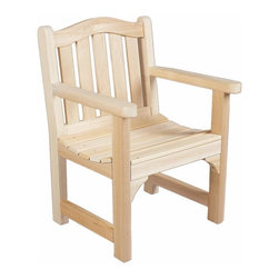 Rustic Cedar Cedar Armchair - Camel Back - Our elegantly styled camel back chair is designed with an arched back and deep seating for a relaxed fit and maximum comfort. The sturdy cedar construction ensures beauty and years of carefree use. Cedar is naturally resistant to decay  insect  and weather damage and  when left untreated  the creamy natural color weathers gracefully to a silvery grey.