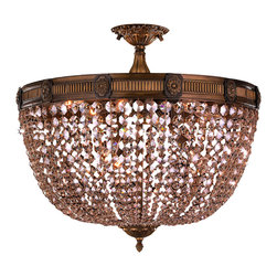 """Worldwide Lighting - Winchester 9 Light Antique Bronze Golden Teak Crystal 24"""" Round Semi-Flush Light - This stunning 9-light Flush-mount only uses the best quality material and workmanship ensuring a beautiful heirloom quality piece. Featuring a cast aluminum base in antique bronze finish and all over clear golden teak (champagne color) crystal embellishments made of finely cut premium grade 30% full lead crystal, this flush mount will give any room sparkle and glamour. Worldwide Lighting Corporation is a privately owned manufacturer of high quality crystal chandeliers, pendants, surface mounts, sconces and custom decorative lighting products for the residential, hospitality and commercial building markets. Our high quality crystals meet all standards of perfection, possessing lead oxide of 30% that is above industry standards and can be seen in prestigious homes, hotels, restaurants, casinos, and churches across the country. Our mission is to enhance your lighting needs with exceptional quality fixtures at a reasonable price."""