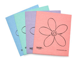 Skoy Cleaning Cloth Set Of 4 - The SKOY cloth is a fabulous absorbent biodegradable and natural multi-use cloth. Our re-usable earth friendly cloth is perfect in your kitchen bathroom and on most surface areas in your home or office. SKOY cloth can be used in place of your sponge wash cloth or paper towels. It is a European made product and 100% biodegradable because it is made from a natural cotton and wood-based cellulose pulp. SKOY cloth is a chlorine-free product using water-based colors and inks. After an independent composting test SKOY cloth broke down completely within 5 weeks. The SKOY cloth is a durable product due to the reusability factor and can last months. Using a SKOY cloth is equivalent to using 15 rolls of paper towels in an average home. With the high cost of paper towels as much as $2 per roll SKOY cloth is the obvious choice for your wallet and the environment. The SKOY cloth has an absorption factor of 15x its own weight. As a result producing the most superior cloth product available. Imagine using 15 sheets of good-quality paper towels at once This is how a wet SKOY cloth will feel in your hand.