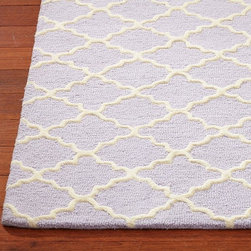 Addison Rug, Lavender - A classic trellis print is reinvigorated in a sweet lilac purple color for a playroom or girl's space.