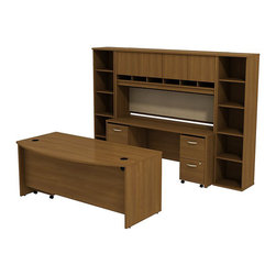 """BBF - BBF Series C 72"""" Bow Front Desk with Credenza with Hutch and Bookcases - BBF - Computer Desks - SRC0010WOSU - The complete office in one convenient bundle. Combining the BBF Series C 72"""" Bowfront Desk 72""""W Credenza 72""""W 4-Door Hutch (2) 18""""W 5-Shelf Bookcases 2-Drawer Mobile Pedestal (F/F) and 3-Drawer Mobile Pedestal (B/B/F) creates the ultimate in professional workspace storage and display. The 72""""W Bowfront Desk creates a large workspace with comfortable seating for guests while the wire management system keeps the desktop clear of cables and wires through desktop grommets and wire channels. The 72""""W Credenza accepts the 72""""W 4-Door Hutch adding concealed storage with Euro-style self closing hinges for a soft close and six open work-in-progress trays. A fabric covered tack board on the Hutch creates even more organizational space while the Mobile Pedestal units fit neatly under the desktop adding two box drawers and three file drawers. The two box drawers offer storage for office supplies and three file drawers accommodate letter legal and A4 size files. Each drawer operates on full-extension ball bearing slides to allow full access and is accented by contemporary brushed nickel hardware. Two 18""""W 5-Shelf Bookcases complete this office with additional storage and display space. With a finish to match any decor additional BBF Series C pieces allow for additional configurations as your needs evolve and grow. Solid construction meets ANSI/BIFMA test standards in place at time of manufacture; this product is American Made and is backed by BBF 10-Year Warranty."""