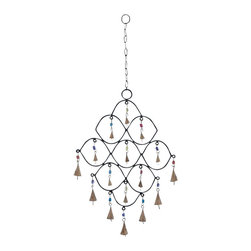 "Benzara - Metal Bead Wind Chime with Colorful Beads - Metal Bead Wind Chime with colorful beads. Trendy and modern, this metal bead wind chime displays great elegance and highlights your living space with adorable decoration. It comes with a dimension: 12"" W x 1"" D x 26"" H."
