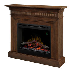 """Dimplex Harleigh Walnut Electric Fireplace Mantel Package - DFP26L-1475WN - The Dimplex Harleigh Walnut Electric Fireplace Mantel Package - DFP26L-1475WN is a perfect addition to your family room, living room, dining room and even bedroom. Appropriately sized and fashioned with intriguing fluted face and corner detailing, the Harleigh is a strong statement piece sure to catch the eye of all your guests. You'll love watching the dancing flames as they appear to rise from within the LED lit glowing log set, creating the strong illusion of a real wood-burning fireplace. The warmth created from the electric fireplace easily takes the chill out of your room when the temperatures begin to dip outside. Capable of producing supplemental heat for areas up to 400 Sq. Ft. , this Harleigh fits the bill for most uses & applications. Using the digital thermostat makes it easy to set the desired temperature, keeping a consistent and comforting environment. As an added convenience, a hand-held remote is included for ease of operation. Product Dimensions: 44"""" W x 40.5"""" H x 11.5"""" D"""