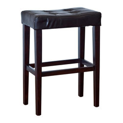 Finley Home - Palazzo 29 Inch Saddle Bar Stool - Black - WSMP11-C29 - Shop for Stools from Hayneedle.com! The Palazzo 29 Inch Saddle Bar Stool - Black provides attractive contemporary comfort wherever you need it. Place this stool at your home bar beside a kitchen counter or with a pub table for a beautiful contemporary look. Constructed with a wood base and legs finished in black this bar stool has a comfortable padded seat covered in luxurious faux leather. The backless and armless design allows you to tuck it away neatly under your table or bar to save space. The foot rest provides stability and support. Weighing just 12 pounds it's light enough to easily move from room to room. Perfect wherever you need extra seating this sturdy wooden bar stool complements a variety of interiors. Dimensions: 20.5W x 13D x 29H inches seat height: 29 inches. Please note: This item is not intended for commercial use. Warranty applies to residential use only.About Finley HomeFinley Home was created to ensure that your needs wants and desires regarding home furnishings and decor are met with ease. Offering a well-appointed mix of both current and classic designs all with functional style at exceptionally affordable prices Finley Home's unique pieces and collections are ideal for keeping pace with today's ever-evolving lifestyles. Simple silhouettes understated elegance and versatility define the Finley Home brand and make it one you'll return to for years to come.