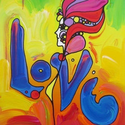 Love, Mixed Media Acrylic & Silk-screen, Peter Max - SIGNED Popart Pop Art - PETER MAX RARE FABULOUS BEAUTIFUL PETER MAX SILK-SCREEN. This is your opportunity to own a fabulous original Peter Max hand signed Silk-screen.