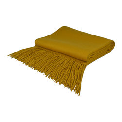 "Pur by Pur Cashmere - Signature Blend Throw Mineral Yellow 50""x65"" With 6"" Fringe - Signature cashmere blend throw 10% cashmere / 80% wool / 10% microfine Dry clean only. Inner mongolia."