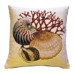 Pillow Decor Ltd. - Coral and Shells Cream Nautical Throw Pillow - Play a sophisticated shell game in your favorite setting. The finery of French tapestry in a beachcomber theme is such a refreshing touch. Put it to your ear and you can almost hear the ocean!