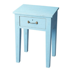 Butler Furniture - Avignon Blue Solid Wood Chair Side Table - Impeccably proportioned in its intentionally unadorned and right-angled simplicity, this Chair Side Table is crafted from select wood solids in a bold, fashion-forward, hand-painted, blue finish.