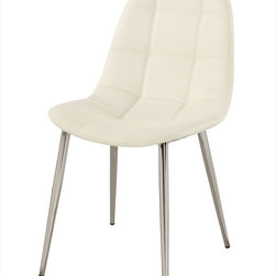 Chintaly Imports - Donna Upholstered Back Side Chair - Set of 4 - Contemporary side chair, White PU, CA fire retardant foam, metal chrome legs.