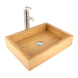 "TCS Home Supplies - Irenic - Bamboo Countertop Bathroom Lavatory Vessel Sink - Irenic - Bamboo Countertop Bathroom Lavatory Vessel Sink. Exterior Dimension 18-7/8""(Length); 14""(Width); 4-1/4""(Height)"