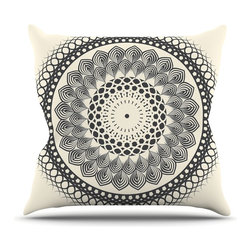 "Kess InHouse - Famenxt ""Black & White Boho Mandala"" Geometric Throw Pillow (18"" x 18"") - Rest among the art you love. Transform your hang out room into a hip gallery, that's also comfortable. With this pillow you can create an environment that reflects your unique style. It's amazing what a throw pillow can do to complete a room. (Kess InHouse is not responsible for pillow fighting that may occur as the result of creative stimulation)."