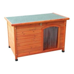 Crown Pet Cedar Slant Roof Dog House - Made with fine materials, like solid cedar, the Crown Pet Cedar Slant Roof Dog House is crafted for years of use. Not only will your pet be comfortable in their own domain, Cedar doghouses are resistant to pests, rot, weather, and moisture. Cedar also offers natural insulation that keeps your doghouse cooler in the summer and warmer in the winter. Built with strict quality standards, each is attractively finished with a waterproof cedar stain and shingled roof. The solid tongue and grooved floor, not found in many other doghouses, reduces drafts and keeps pets warmer. The offset door provides protection from the weather and includes a clear vinyl flap door that is split, making it easier for your pet to enter and exit, while keeping the weather and dirt out. All-terrain, adjustable waterproof plastic feet give your pet a level home.About Crown Pet ProductsOffering a fine line of furniture-quality pet crates, gates, and cat litter cabinets, Crown Pet Products is proud to produce high-quality products that look good and last for years. Each product is crafted of fine wood and fine materials for a quality unmatched in their field. In addition to amazing products, Crown Pet Products also offers exceptional customer service.