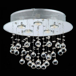 None - Floating Bubble Chrome and White 5-light Crystal Chandelier - Give your dining room an elegant makeover with this five-light chrome and crystal chandelier. This chandelier features an attractive white screen and drop bubble crystals,providing an exquisite talking piece for when sitting around the dining table.