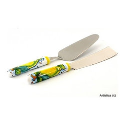 Artistica - Hand Made in Italy - Limoni: Deruta Cake Knife and Server Set with Ceramic Handle - Cake knife and Server set.