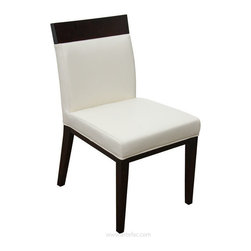 ARTEFAC - 2 - Top Grain Leather Dining Chair in Cream or Grey, Cream - This stylish and sophisticated dining chair is 100% genuine cow hide top grain leather, kiln dried solid hardwood frame in espresso color, High Density Foam with Pirelli straps. fully assembled, made for commercial and residential use. Set of 2.