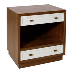 Worlds Away - Worlds Away - Warren 2 Drawer Nightstand In Walnut/White - Worlds Away's Warren nightstand elicits mid-century modern appeal. Dark wood forms the simple rectangular frame, while white drawers and bronze hardware lend a hint of glamour.