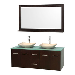 "Wyndham Collection - Centra 60"" Espresso Double Vanity, Green Glass Top, Arista Ivory Marble Sinks - Simplicity and elegance combine in the perfect lines of the Centra vanity by the Wyndham Collection. If cutting-edge contemporary design is your style then the Centra vanity is for you - modern, chic and built to last a lifetime. Available with green glass, pure white man-made stone, ivory marble or white carrera marble counters, with stunning vessel or undermount sink(s) and matching mirror(s). Featuring soft close door hinges, drawer glides, and meticulously finished with brushed chrome hardware. The attention to detail on this beautiful vanity is second to none."