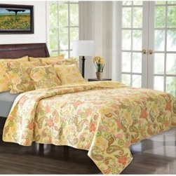 Greenland Home Fashions Sunset Paisley Bonus Quilt Set - The flowers can be in full bloom or you can be shoveling your way out of 4 feet of snow, but it's always the first day of spring when you walk into a room with the Greenland Home Fashions Sunset Paisley Bonus Quilt Set. This lively, appealing set includes a thick comforter, two reversible shams, and two coordinating throw pillows, each sharing that vivid, charming design. Quilted cotton adds the cozy texture you're looking for, and the oversized design gives you full coverage on today's deeper mattresses. The shams feature a reversible design and side opening, allowing you to mix up the look of your set. This set is pre-washed and pre-shrunk and offered in several sizes.Product Dimensions:Twin comforter: 88L x 68W in. Full/queen comforter: 90L x 90W in.King comforter: 95L x 105W in.Small sham: 20L x 26W in.Large sham: 20L x 36W in.Throw pillow: 18L x 18W in.About Greenland Home FashionsFor the past 16 years, Greenland Home Fashions has been perfecting its own approach to textile fashions. Through constant developments and updates - in traditional, country, and more modern styles – the company has become a leading supplier and designer of decorative bedding to retailers nationwide. If you're looking for high-quality bedding that not only looks great but is crafted to last, consider Greenland.